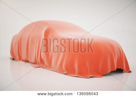 Car covered with red veil on light background. 3D Rendering