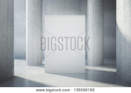 Blank Billboard In Concrete Interior