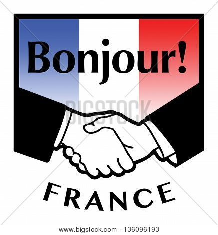 France flag and business handshake, vector illustration