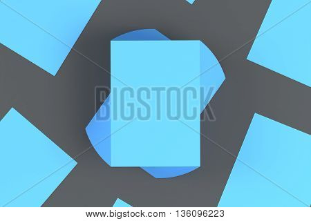 Stacks of blue paper cards on dark grey background. Top view Mock up 3D Rendering