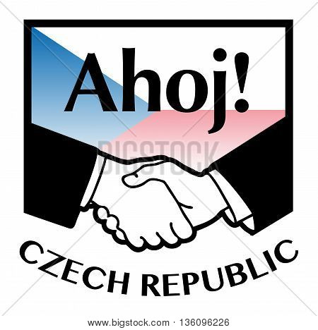 Czech Republic flag and business handshake, vector illustration