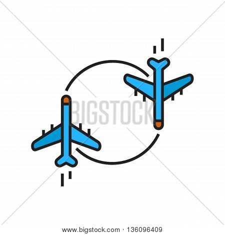 Two airplanes moving round circle. Charter flight, air charter, airplane, trip. Airline concept. Can be used for topics like airport, airline, flight