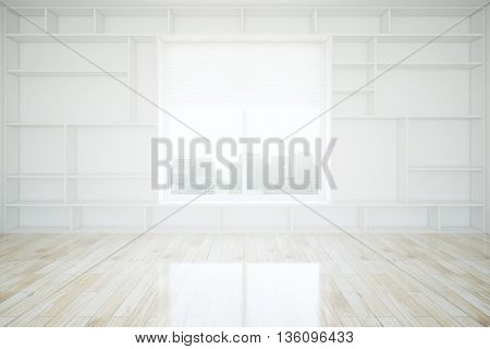 Interior design with built-in empty bookcase wooden floor and window with city view. 3D Rendering
