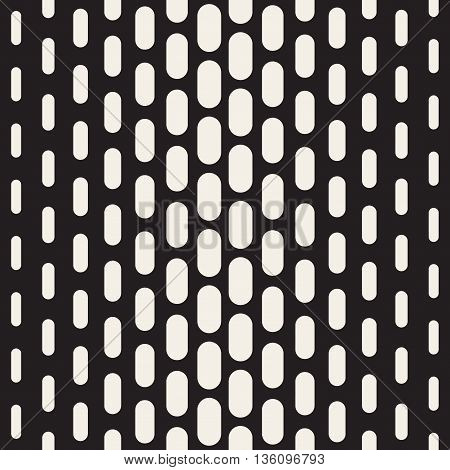 Vector Seamless Black And White Vertical Rounded Rectangle Geometric Pattern. Abstract Geometric Background Design
