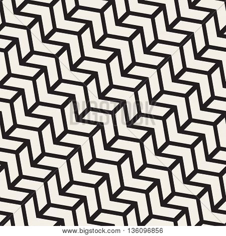Vector Seamless Black And White Chevron Line Geometric Pattern. Abstract Geometric Background Design