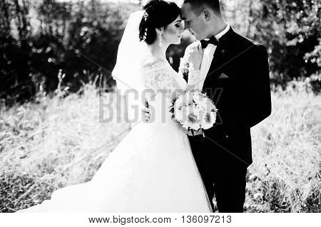 Close Up Portrait Of Young Stylish Weding Couple