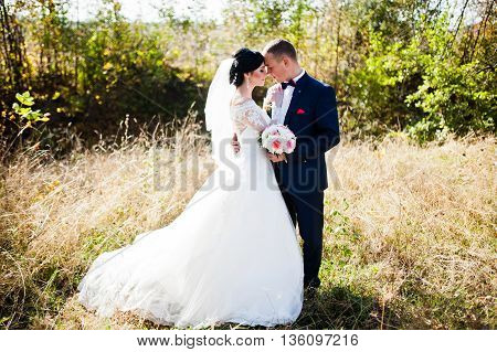 Young Stylish Wedding Couple At High Grass