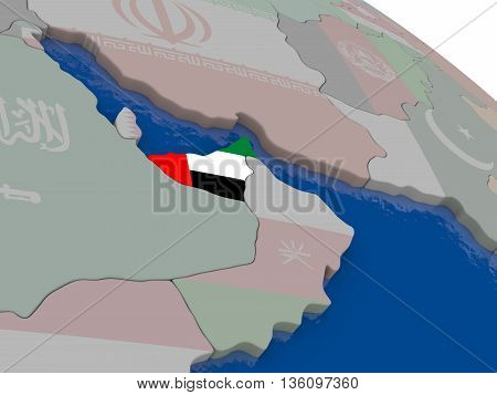 United Arab Emirates With Flag