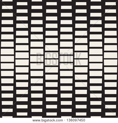 Vector Seamless Black And White Rectangle Halftone Geometric Pattern. Abstract Geometric Background Design