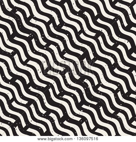 Vector Seamless Black And White Hand Drawn Daigonal Wavy Lines Grunge Pattern. Abstract Freehand Background Design
