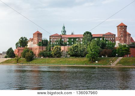 Wawel Castle In Krakow, Long River And Stone Walls