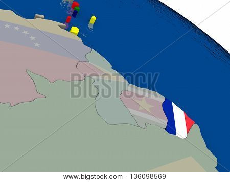 French Guiana With Flag