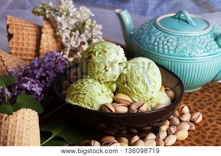 pistachio ice cream closeup pistachio nuts, lilacs, still life, beautiful, delicious