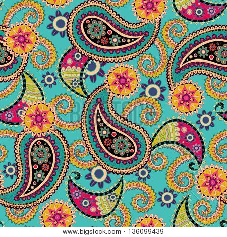 Seamless Paisley background. Colorful flowers and leafs.
