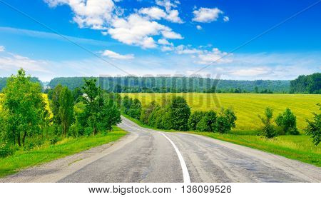 Rural paved road among green fields
