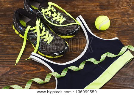 Green Sneakers, Ball And Tape Measuring