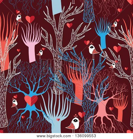 Beautiful vector illustration with multicolored different trees