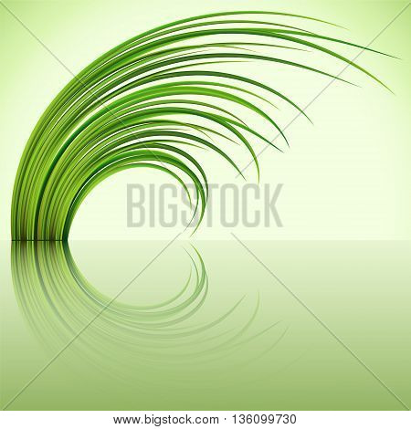 Fragment of the green grass on green background. Vector illustration.