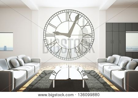 Furnished living room interior design with concrete walls carpet table two sofas and huge clock shaped window with New York city view and sunlight. 3D Rendering