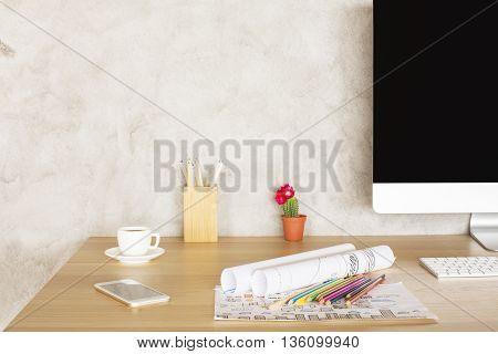 Creative Desktop With Sketches