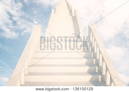 Light concrete ladder in the sky leading to success. 3D Rendering