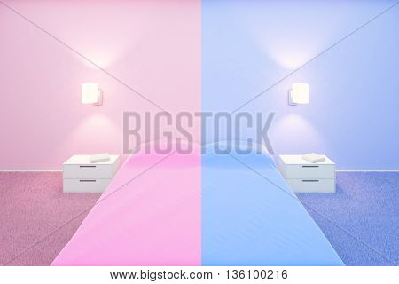 Creative bedroom interior with pink and blue sides for him and for her. 3D Rendering