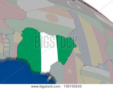 Nigeria With Flag