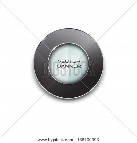 round design with a glass surface. shiny button with metallic elements. black frame