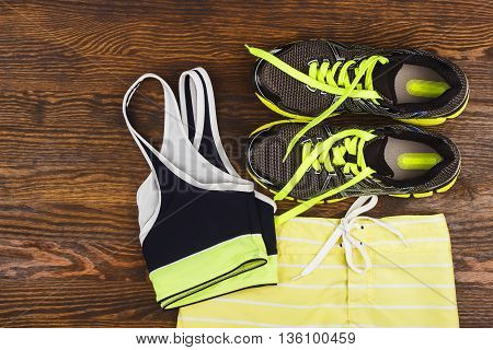 Green Sneakers, Shorts And Sport Bra