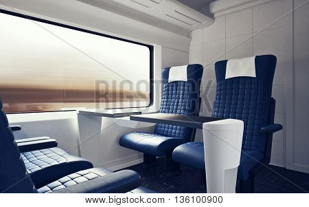 Interior Inside First Class Cabin Modern Speed Express Train.Nobody Blue Chairs Window.Comfortable Seats and Table Business Travel. 3D rendering.High Textured Row Materials. Motion Blur Background