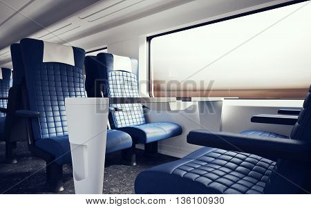 Interior Inside First Class Cabin Modern Speed Express Train.Nobody Blue Chairs Window.Comfortable Seats and Table Business Travel. 3D rendering.High Textured Row Material. Motion Blurred Background