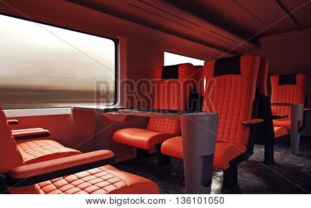 Interior Inside First Class Cabin Modern Speed Express Train.Empty Red Chairs Window.Comfortable Seats and Table Business Travel. 3D rendering.High Textured Row Materials. Motion Blurred Background