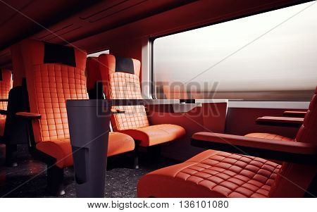 Interior Inside First Class Cabin Modern Speed Express Train.Nobody Red Chairs Window.Comfortable Seats and Table Business Travel. 3D rendering.High Textured Row Material. Motion Blurred Background