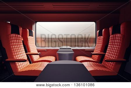 Interior Inside First Class Cabin Modern Speed Express Train.Nobody Red Chairs Window.Comfortable Seat and Table Business Travel. 3D rendering.High Textured Row Materials. Motion Blurred Background