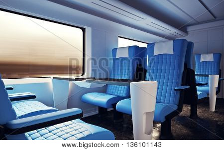 Interior Inside First Class Cabin Modern Speed Express Train.Empty Red Leather Window.Comfortable Seats and Table Business Travel. 3D rendering.High Textured Row Materials. Motion Blurred Background