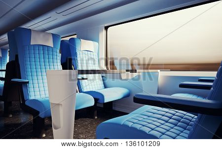 Interior Inside First Class Cabin Modern Speed Express Train.Nobody Leather Chairs Window.Comfortable Seats Table Business Travel. 3D rendering.High Textured Row Materials. Motion Blurred Background