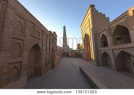 Ismail Hoja Minaret and Mosque in Khiva, Uzbekistan.