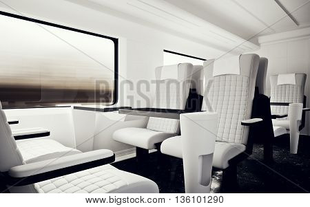 Interior Inside First Class Cabin Modern Fast Express Train.Nobody White Leather Chair Window.Comfortable Seat Table Business Travel.3D rendering.High Textured Row Material.Motion Blur Background