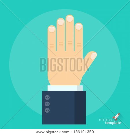 Flat design vector hand  icon. flat mock up for application interface, presentation and web design.