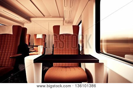 Interior Inside First Class Cabin Modern Speed Express Train.Nobody Brown Chairs Window.Comfortable Seats and Table Business Travel. 3D rendering.High Textured Row Materials. Motion Blurred Background