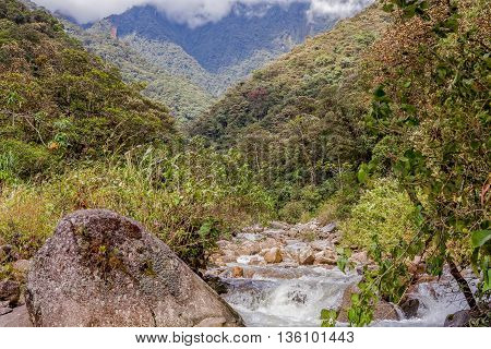 Machay River Trail Close To Banos De Agua Santa Ecuador South America
