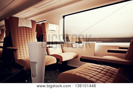 Interior Inside First Class Cabin Modern Speed Express Train.Nobody Brown Chairs Window.Comfortable Seats and Table Business Travel. 3D rendering.High Textured Row Material. Motion Blurred Background