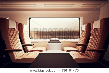 Interior Inside First Class Cabin Modern Speed Express Train.Nobody Brown Chairs Window.Comfortable Seat and Table Business Travel. 3D rendering.High Textured Row Materials. Motion Blurred Background