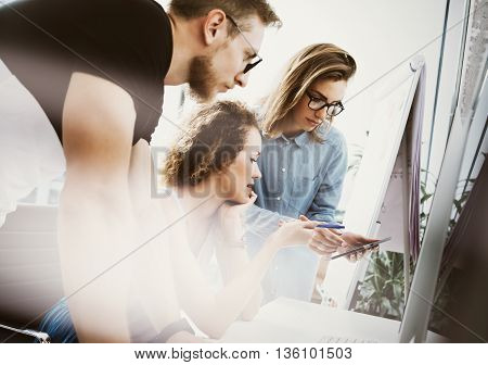 Coworkers Team Working Office Studio Startup.Businessman Using Modern Tablet, Desktop Monitor Wood Table.Bank Managers Market Researching Process.Virtual Digital Diagram Interface Screen.Blurred.
