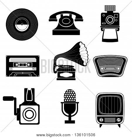 Retro objects and vintage media design, vector illustration