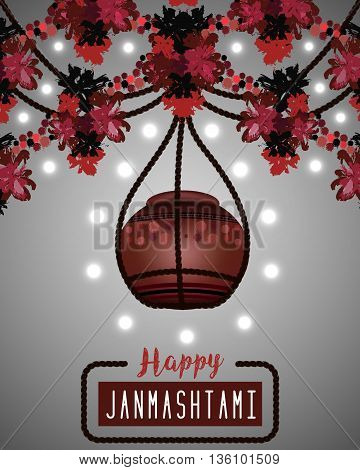 Happy Janmashtami. Illustration of hanging dahi handi. Greeting background. Vector eps10