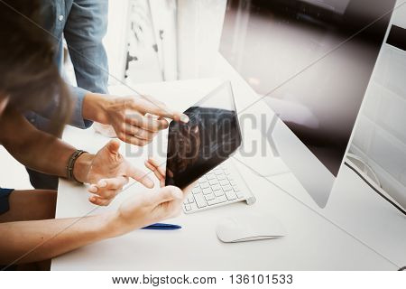 Coworkers Team Working Bank Office Startup.Businessman Using Modern Tablet, Desktop Monitor Wood Table.Trade Managers Market Researching Process.Virtual Digital Diagram Interface Screen Device Blurred