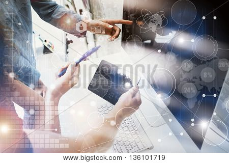 Coworkers Team Working Office Studio Startup.Businessman Using Modern Tablet, Desktop Monitor Wood Table.Bank Managers Market Researching Process.Virtual HiTech Diagram Interface Screen Device Blurred.