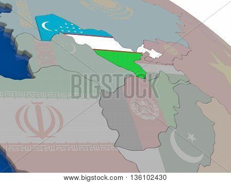 Uzbekistan With Flag