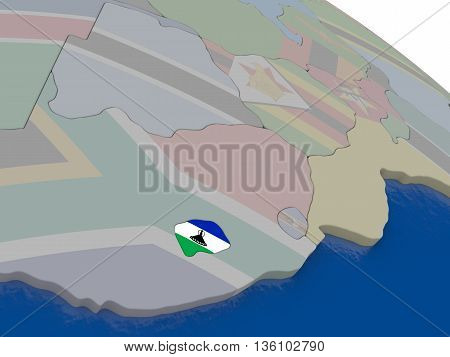 Lesotho With Flag